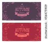 autumn leaves and sale text.... | Shutterstock .eps vector #456475909