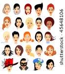set of cartoon faces. girls....