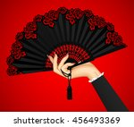 female hand with open black... | Shutterstock . vector #456493369