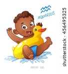 zodiac sign aquarius. african... | Shutterstock .eps vector #456495325
