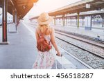 summer travel  woman with... | Shutterstock . vector #456518287