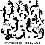 set of silhouettes of... | Shutterstock . vector #456526315