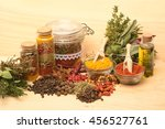 various colorful spices on... | Shutterstock . vector #456527761