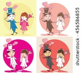 illustration of wedding couple... | Shutterstock .eps vector #456586855