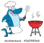chef blue shark cartoon mascot... | Shutterstock . vector #456598564