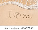 inscription on sand i love you... | Shutterstock . vector #45662155