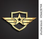 3d golden military star symbol... | Shutterstock .eps vector #456628744