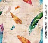 vintage style seamless pattern... | Shutterstock . vector #456638719