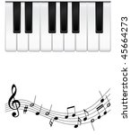 vector piano keys with notes | Shutterstock .eps vector #45664273