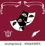 set of theatrical icons  masks...