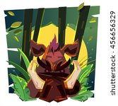 boar in jungle with fullmoon or ... | Shutterstock .eps vector #456656329