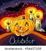 smile pumpkin. halloween... | Shutterstock .eps vector #456657109