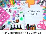 "words ""student at work"" written ... | Shutterstock . vector #456659425"