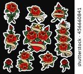 traditional tattoo flowers set...   Shutterstock .eps vector #456660841