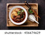 asian noodles in broth with... | Shutterstock . vector #456674629