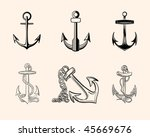 set of hand drawn vector one... | Shutterstock .eps vector #45669676