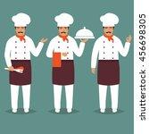 set cartoon chief cook... | Shutterstock .eps vector #456698305