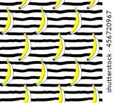 doodle bananas on stripy... | Shutterstock . vector #456720967