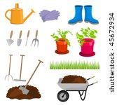 garden tools. vector... | Shutterstock .eps vector #45672934