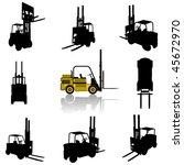 Forklift Silhouette Set