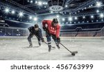 hockey match at rink   . mixed... | Shutterstock . vector #456763999