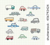 hand drawn car doodles. vector... | Shutterstock .eps vector #456792424