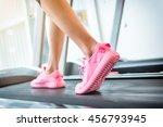 fitness girl running on... | Shutterstock . vector #456793945