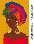 latin woman. cuban girl with... | Shutterstock .eps vector #456804325
