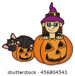 witch and a cat hiding in... | Shutterstock . vector #456804541