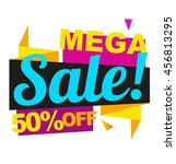 mega sale vector banner. 50 off ... | Shutterstock .eps vector #456813295