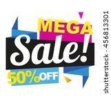 mega sale vector banner. 50 off ... | Shutterstock .eps vector #456813301