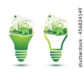 green eco city with light bulb... | Shutterstock .eps vector #456824149