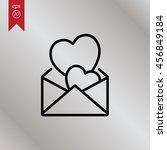 web line icon. love letter. | Shutterstock .eps vector #456849184