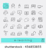 collection of flat line e... | Shutterstock .eps vector #456853855