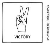 doodle peace and victory icon.... | Shutterstock .eps vector #456858931