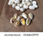 top view pistachios on wooden