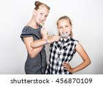 two cute little girlfriend... | Shutterstock . vector #456870109