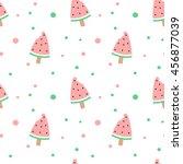cute watermelon bitten ice... | Shutterstock .eps vector #456877039