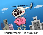 helicopter throwing money from... | Shutterstock .eps vector #456902134