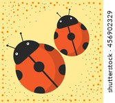 Cute Cartoon Pair Of Ladybugs...