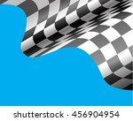 checkered flag flying on blue... | Shutterstock .eps vector #456904954