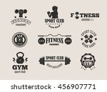 set of monochrome gym fitness... | Shutterstock .eps vector #456907771