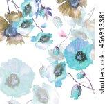 beautiful watercolor poppies... | Shutterstock . vector #456913381