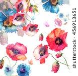 beautiful watercolor poppies... | Shutterstock . vector #456913651