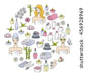 spa  hand drawn doodle icons.... | Shutterstock .eps vector #456928969