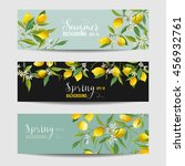 lemon citrus floral banners and ... | Shutterstock .eps vector #456932761