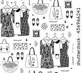 fashionable wardrobe  dresses... | Shutterstock .eps vector #456966241