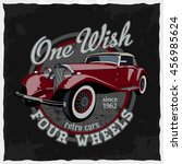 hand drawn retro car in the... | Shutterstock .eps vector #456985624