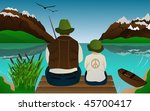 fishing lessons with father and ... | Shutterstock . vector #45700417