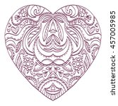 vector heart for coloring with... | Shutterstock .eps vector #457005985